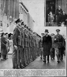 King George VI inspects guard of honour mounted by 4th Battalion, The Royal Norfolk Regiment.