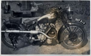 Father's dispatch rider's motorbike